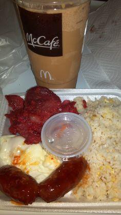 Filipino-American Breakfast This Morning! My Very Pinoy (Pilipino/Filipino) Tosilog (Fried Rice, Fried Eggs & Tocino), Longanisa  (c) to owner