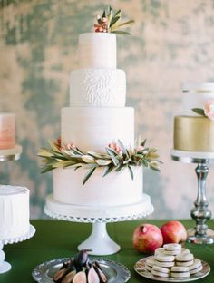 Botanical Winter Wedding Cakes - Olives, Figs, & Pomegranates