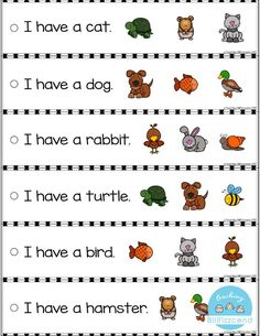These fluency strip are perfect for students in Pre-K, Kindergarten, and First Grade. These are perfect for literacy centers. Free Kindergarten Worksheets, Kindergarten Centers, Reading Worksheets, Literacy Centers, Kindergarten Reading Activities, Kindergarten Classroom, Teaching Reading, Reading Comprehension, Free Reading