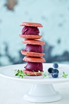 eagerly awaiting blueberry season so i can make these! blueberry sorbet macarons.