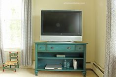 Console Table Upcycled into a TV Stand - At Home on the Bay