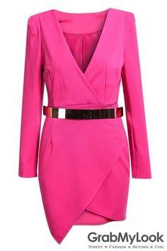 GrabMyLook Pink Red Bodycon V Neck Asymmetric Belt Dress Suit