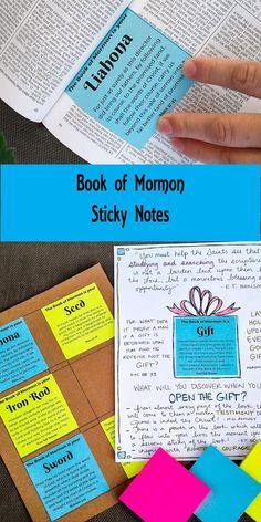 LDS Scripture Literacy: Book of Mormon Sticky Notes- Free Printable Book Of Mormon Scriptures, Book Of Mormon Stories, Lds Books, Bible, Scripture Mastery, Family Scripture, Scripture Reading, Scripture Journal, Scripture Art
