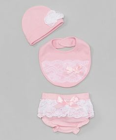 Another great find on #zulily! Pink & White Lace Diaper Cover Set by Baby Essentials #zulilyfinds