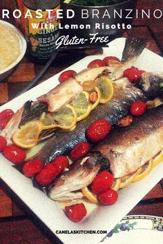Easy recipe for whole roasted branzino, and easy, step by step directions for a perfect, light risotto for spring. Gluten-Free cooking at home should be delicious and easy!