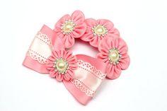 Pink kanzashi hair bun wrap. Bun holder. Bun Crown. by FlosMollis