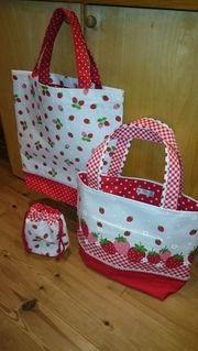 イチゴのトートバッグ&巾着の作り方