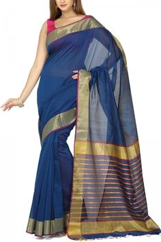 French Blue & Zari Cotton Silk Maheshwari Saree