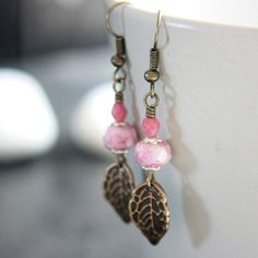 Pink Czech Glass Bead Earrings  A1505 by carolinascreations, $4.00