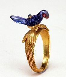 Enamel Bird Ring from Calcutta (is he a Parrot or Love Bird?) c. 1850. Part of the permanent collections at The Victoria and Albert Museum London.