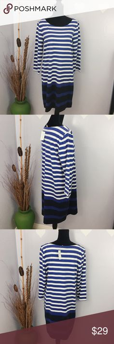 BANANA REPUBLIC 3/4 Sleeve Striped Tee Cotton Measurement provided below for the best fit. It was laid flat, might be off couple inches: Armpit across: 21 3/4 Length: 37.5 Banana Republic Dresses Long Sleeve