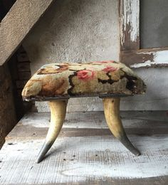 Antique  horn antler footstool  ottoman by SaffronColoredPony