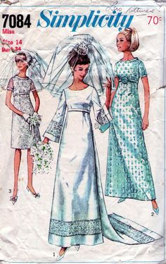 1960s Vintage sewing pattern Simplicity 7084 Had this made for my cousins wedding...1969 pink with white lace overflay...