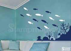 Fish Wall Decal  Sea Ocean Wall Decal with Coral  by stampmagick
