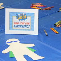 """Here's an adorable superhero party for 3-year-old Lucca! The party planning started with the invitation, which invited Lucca's friends to """"superhero training camp."""" The party food included """"Hero Sandwiches"""" with condiments served on the side (a good idea, in case of picky eaters). As a ..."""