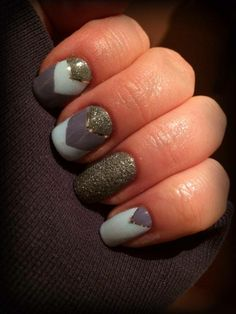 Zoya's Caitlin, Blu and London making a magnificent, geometric design! Pixie dust, nail tape.
