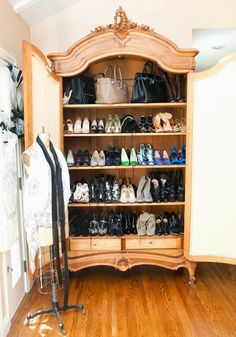 use your French armoire to store your shoes and bags - a great French country closet idea!