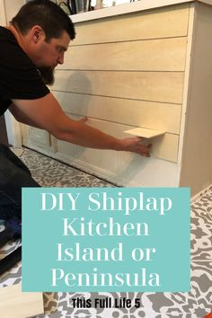 Step-by-step tutorial on how to add a DIY shiplap to your kitchen island or peninsula! Step-by-step tutorial on how to add a DIY shiplap to your kitchen island or peninsula! Cosy Kitchen, Farmhouse Kitchen Island, Kitchen Island Decor, Modern Kitchen Island, Kitchen Islands, Kitchen Island Countertop Ideas, Rustic Kitchen, Kitchen Island Makeover, Kitchen Redo
