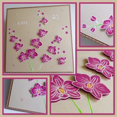 21st birthday card, made using Altenew Oriental Orchid stamps
