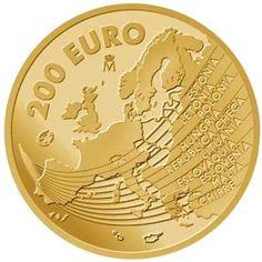 Moneda 2004 Ampliación Unión Europea 200 euros. Oro. Gold C, Gold And Silver Coins, Purple Gold, Black Gold, Gold Money, World Coins, European History, Beautiful Architecture, Coin Collecting