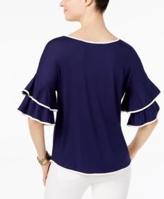 Cable & Gauge Boat-Neck Ruffled-Sleeve Top - Navy/Blue XL