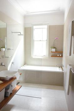 A small, outdated bathroom is transformed into a serene Japanese-inspired bathroom. Bathroom Design Small, Bathroom Layout, Bathroom Interior Design, Bathroom Ideas, Bathroom Showers, Bathroom Designs, Bath Shower, Small Bathrooms, White Bathroom
