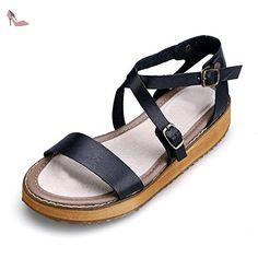 Femme Sandales Plates Lanieres Decoupees Mode Plateforme Poiture Grande Boucle Noir 40 - Chaussures ochenta (*Partner-Link)