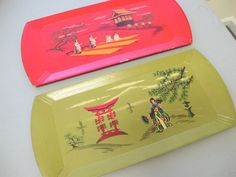Haskelite Lithograph Wooden TV Lap Tray Mid Century Vintage Asian Decor Set of 2