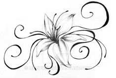 "My friend asked me to design a tattoo with swirls and a lily. This is what i came up with. I didn't have time to ""color"" the lily properly (I left that for the tattoo artist) so it's kinda simple. ..."