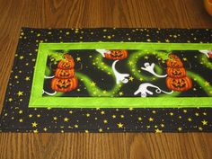 Halloween Quilted Table Runner Topper Ghost Pumpkins Jack o lanterns.