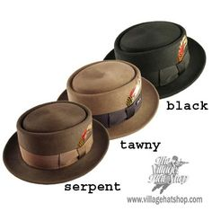 1940's Porkie Hats Colors: Black, brown Material: Fur felt Shape: Short, oval flat top with deep crease around oval Brim: Wide curled up brim all around Band: Thin leather band matching color of the hat or wide petersham ribbon with flat bow. Style: Worn at an angle