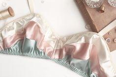 Satin 'Selene' Panties in Vanilla, Blush Pink, Seafoam Mint Satin Handmade to Order. $75.00, via Etsy.