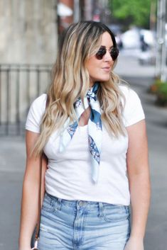 Silk scarf, v-neck t