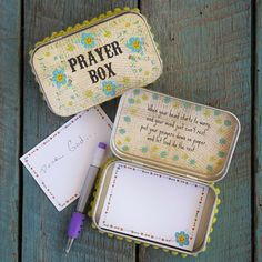 """Vintage Prayer Box Tin (by Natural Life): """"When your head starts to worry, / and your mind just can't rest, / put your prayers down on paper, / and let God do the rest."""""""