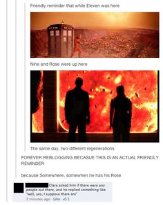 Probably the only friendly reminder the Doctor Who fandom has to offer. Doctor Who, 11th Doctor, Fandoms, Don't Blink, Torchwood, Geronimo, Bad Wolf, Blue Box, End Of The World