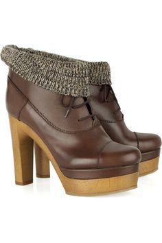 CHLOÉ  Leather platform ankle boots  $995