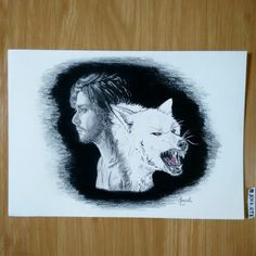 Jon Snow from Game of thrones and Ghost. Tradicional art, A4 size.