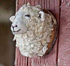 needle felted sheep by fauxfauna on Etsy Crochet Taxidermy, Faux Taxidermy, Needle Felted Animals, Felt Animals, Sheep Art, Cute Sheep, Needle Felting Tutorials, Art Textile, Felt Patterns
