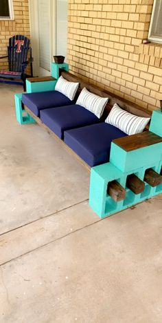 This was a fun little project that you can knock out in one day! Cinder Block Furniture, Cinder Block Bench, Cinder Blocks, Concrete Furniture, Cinder Block Ideas, Cement Bench, Diy Patio Furniture Cheap, Backyard Furniture, Home Decor Ideas