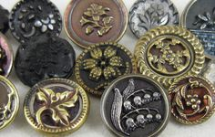 Mixed Lot ANTIQUE PICTURE BUTTONS ~ Victorian~Florals~Flowers~Metal~Glass