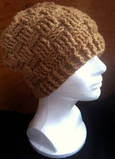 d826b75d256 Items similar to Basket Weave Beanie Hat - Warm Brown - Custom Made to  Order. on Etsy