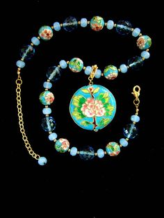 Lovely! Pink and Turquoise Flower Pendant Necklace by IshiVintageHandmade, $48.50