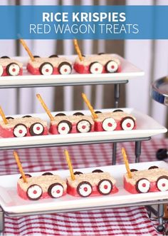 These Rice Krispies® red wagon Treats are made with yummy candy and pretzel sticks for a fun party snack; your kids will love to make with you for their friends!