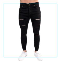 Super Skinny Ripped Jeans Black