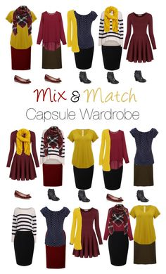 """Capsule Wardrobe: Burgundy and Mustard"" by mary-grace-see on Polyvore. autumn, fall, 2016, mix and match, modest, minimalist, skirts, cardigan, sweater, scarf, boots"