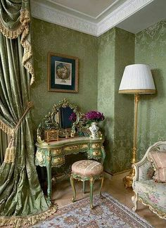 Rococo Vanity In Lovely Victorian Bedroom With Antique Settee Curtains Decor