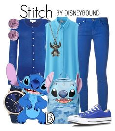 """""""Stitch"""" by leslieakay ❤ liked on Polyvore featuring Linea, Marc Jacobs, Versace, Uniqlo, Disney, Converse, Glitzy Rocks, disney, disneybound and disneycharacter"""