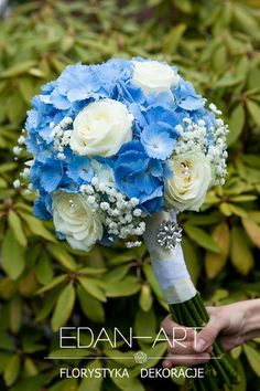 Beautiful Round Wedding Bouquet Featuring: Blue Hydrangea, White Roses, White Gypsophila