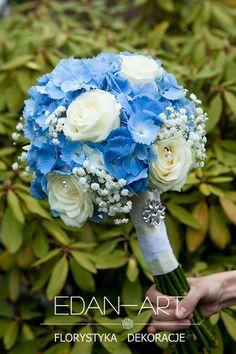 Beautiful Round Wedding Bouquet Featuring: Blue Hydrangea, White Roses, White Gypsophila