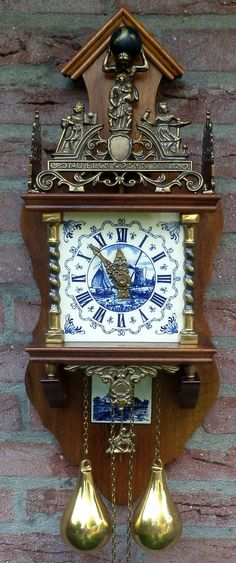 Old Dutch RARE Zaandam Delfs Blue Clock of Holland |